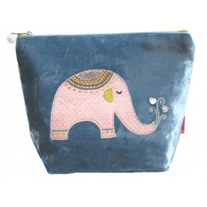 Elephant Applique Velvet Large Cosmetic Purse