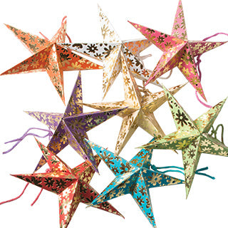 Tiny Flower Printed Star Decorations Pack of 8