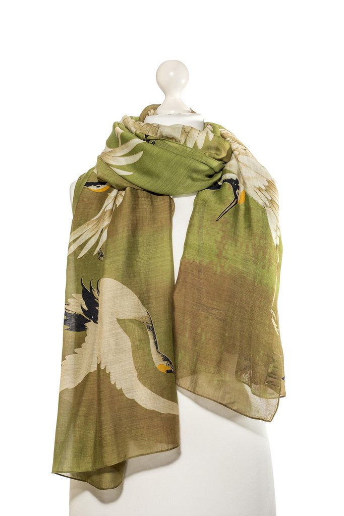 One Hundred Stars Green Stork Scarf
