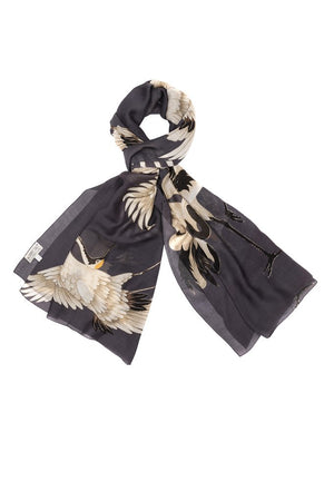 One Hundred Stars Charcoal Stork Scarf