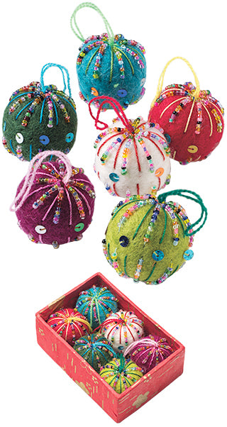 Felt Baubles with Embroidery Christmas Decorations - box of 6