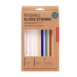 Coloured Reusable Glass Straw Set