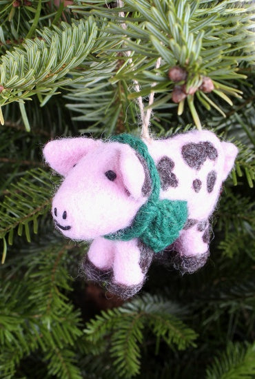 Gordon the Gloucester Old Spot Pig Handfelted Decoration