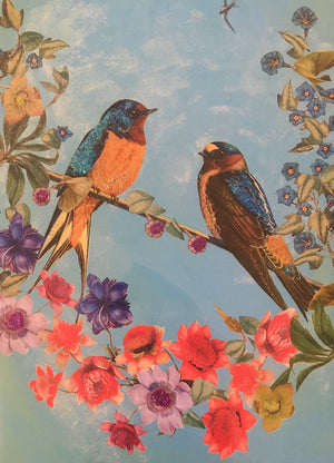 Two Birds - Diana Wilson Hand Glittered Vintage Card