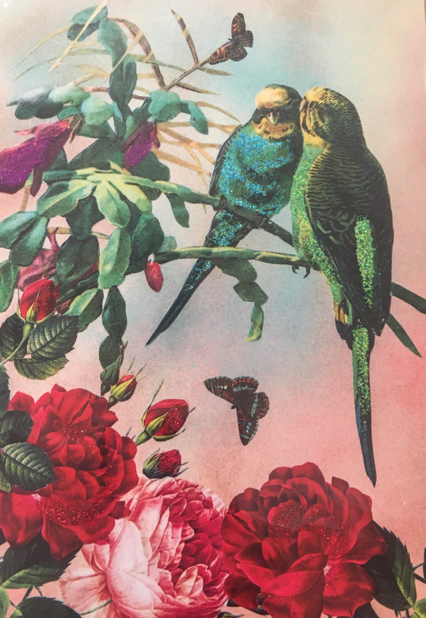 Budgies - Diana Wilson Hand Glittered Vintage Card