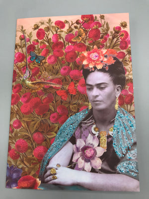 Frida in the Flowers - Diana wilson Hand Glittered Vintage Style Card