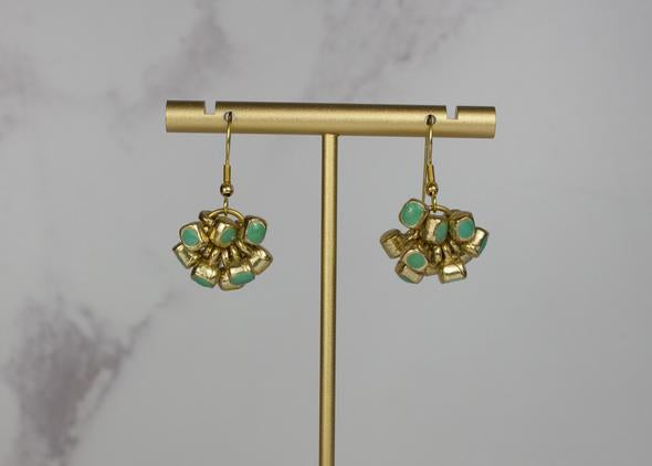Handcrafted Jade Enamel Cluster Earrings