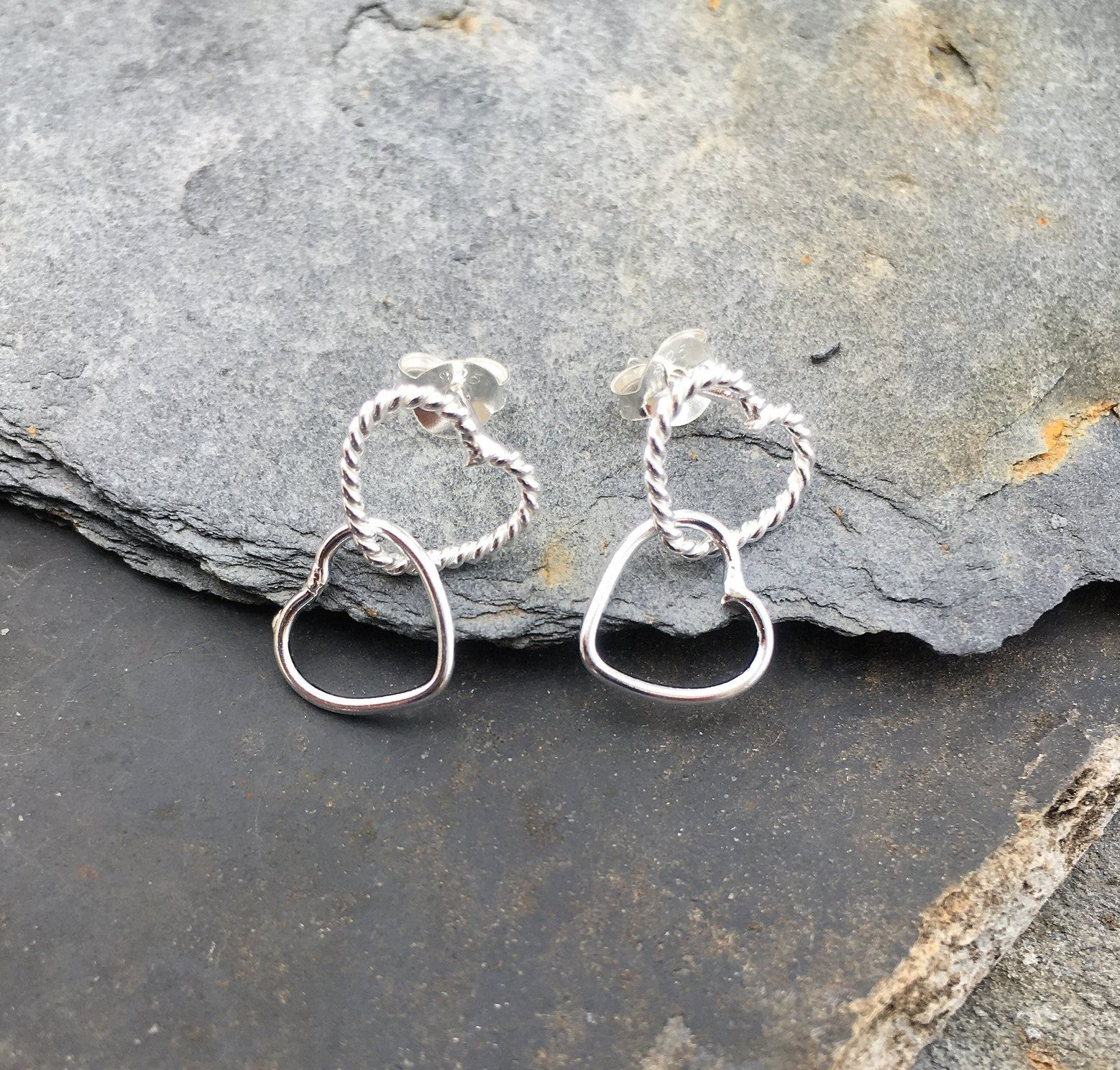Linked Heart Drop Earrings  .925 Silver