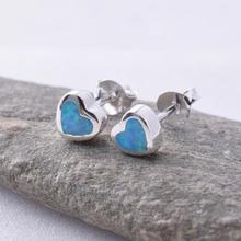 Heart Blue Opal Stud Earrings