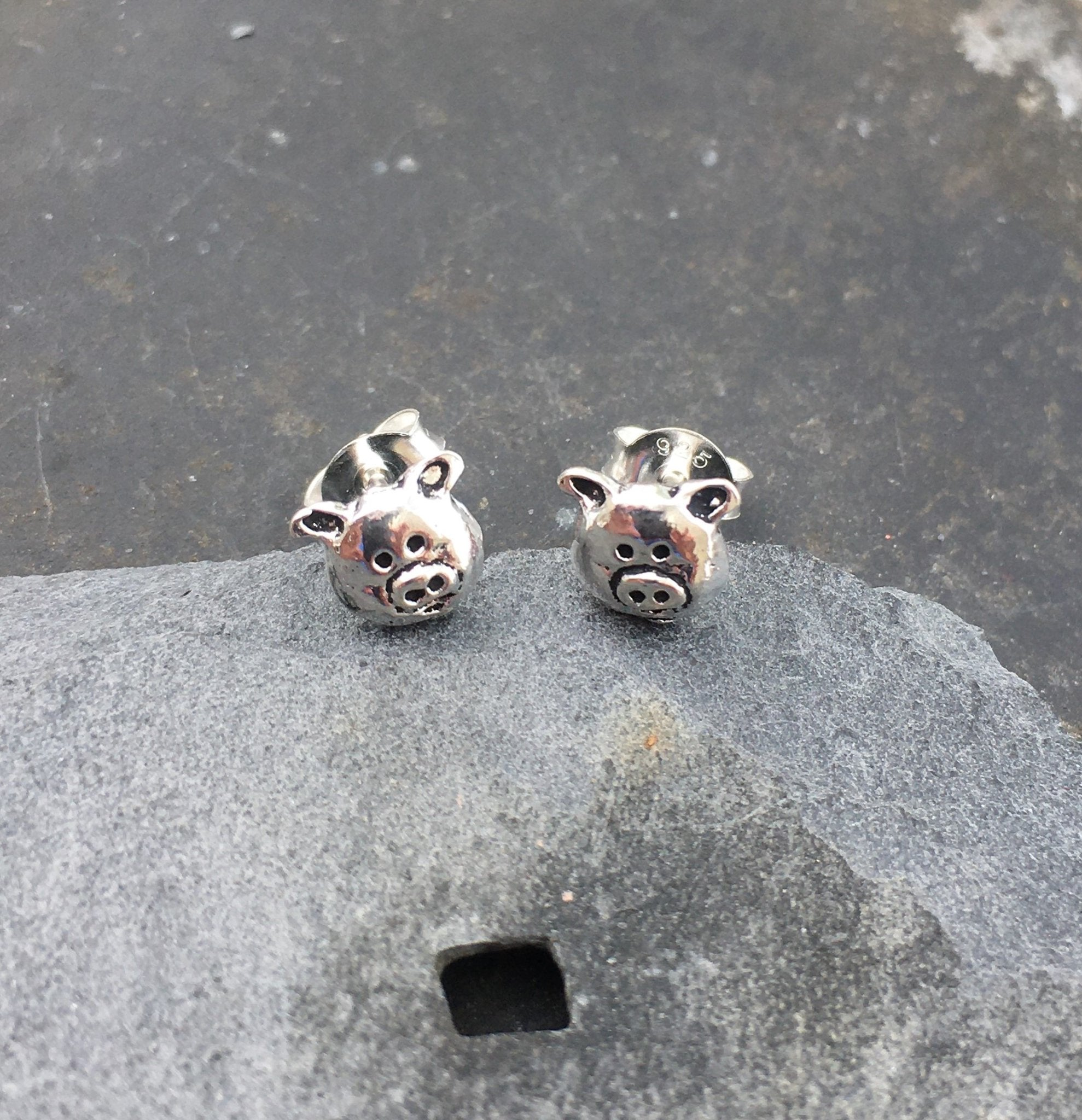 Pig Face Stud Earring .925 Silver