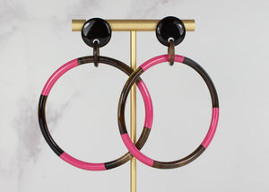 Hand Lacquered Pink Hoops Earrings - My Doris