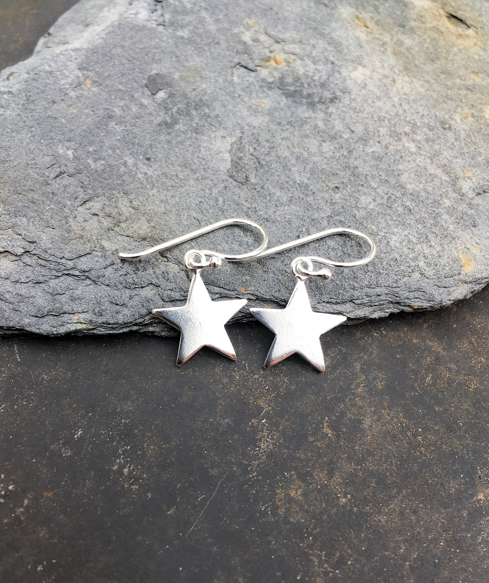 Solid Star Drop Earring .925 Silver