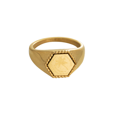 Hexagon palmboom ring goud