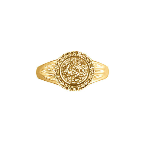 Coin ring romantic goud