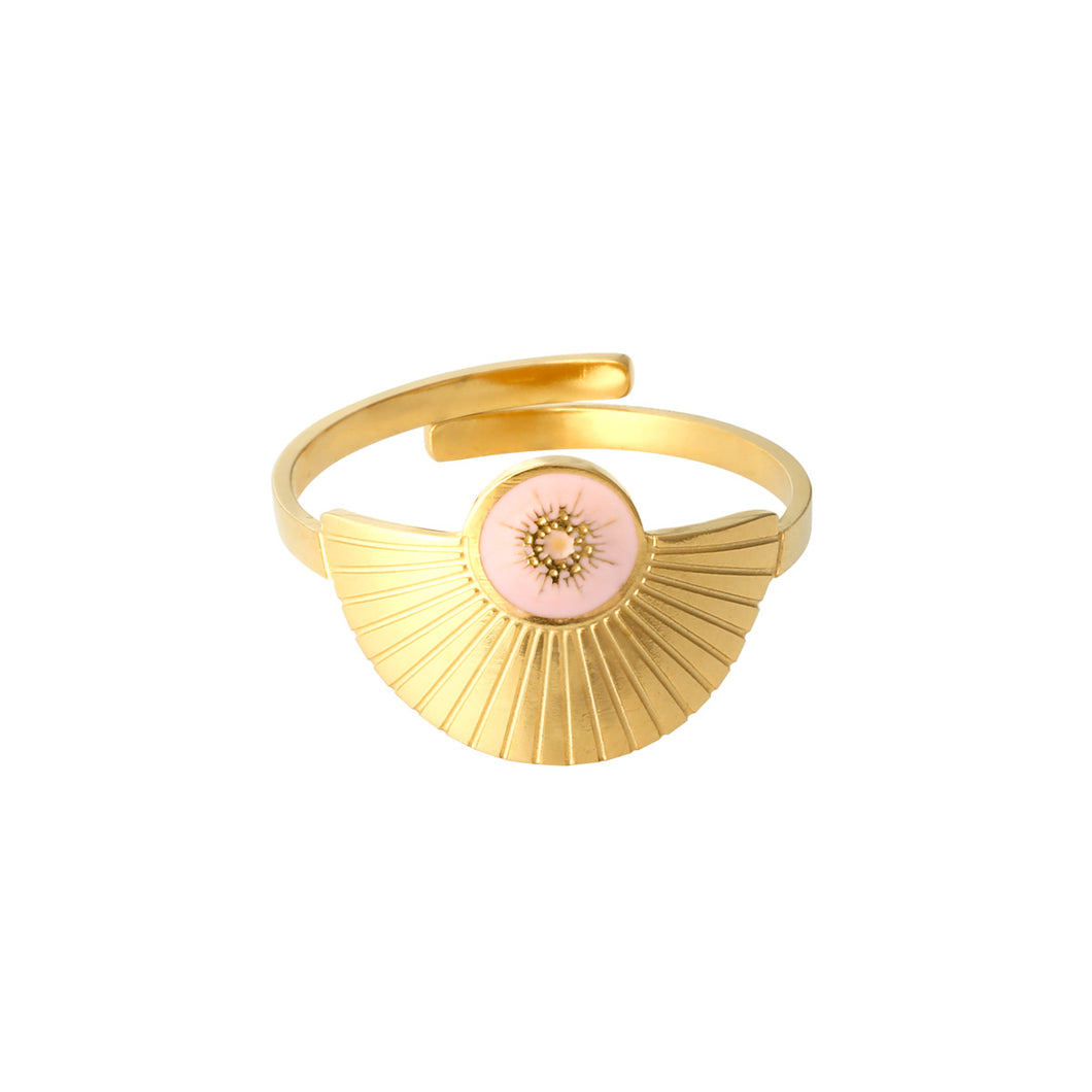 Happiness gouden ring - Wit, Roze, Groen