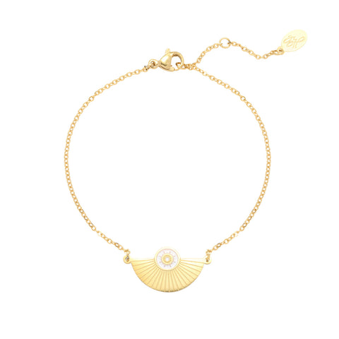 Happiness gouden armband - Wit ,Roze, Groen