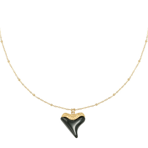 Black heart ketting goud