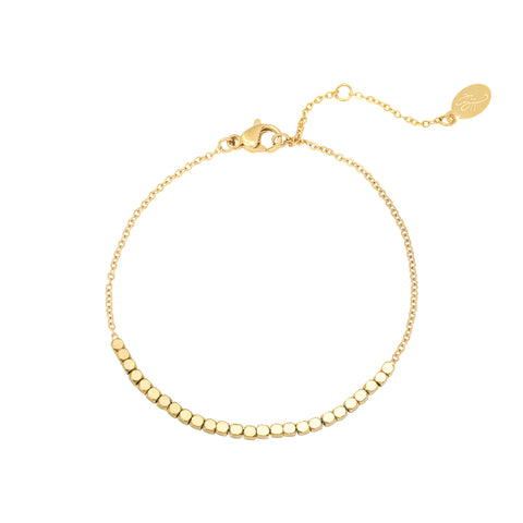 Line of dots armband goud