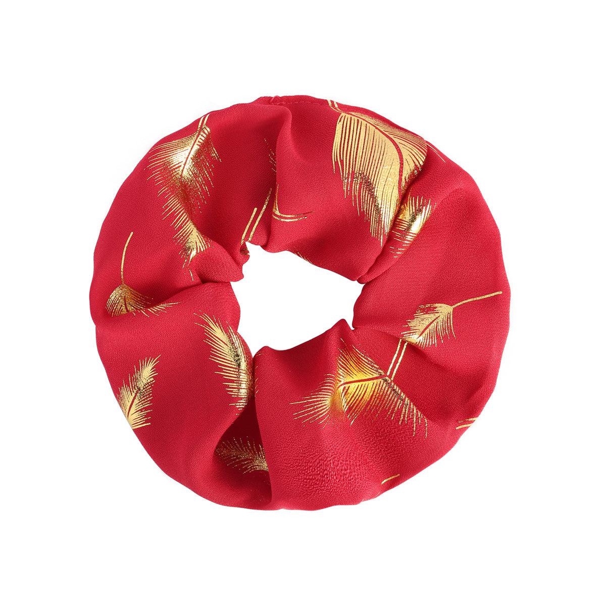 Feather scrunchie goud & rood