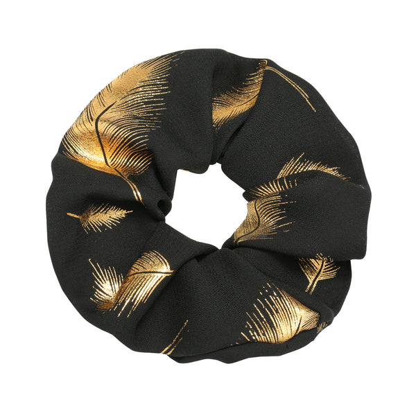 Feather scrunchie goud & zwart