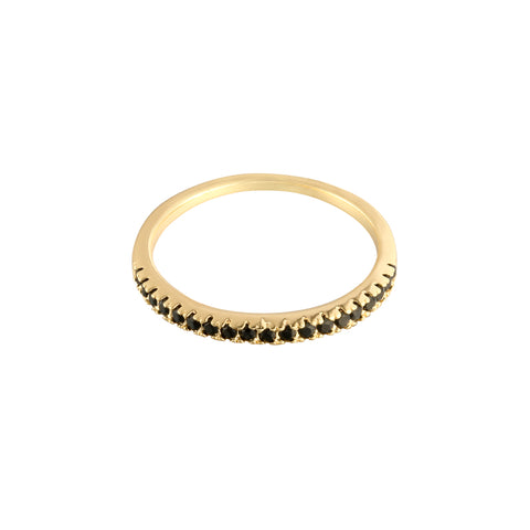 Minimal row ring goud & zwart