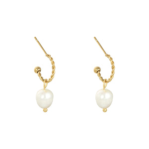 Pearl party oorbellen goud