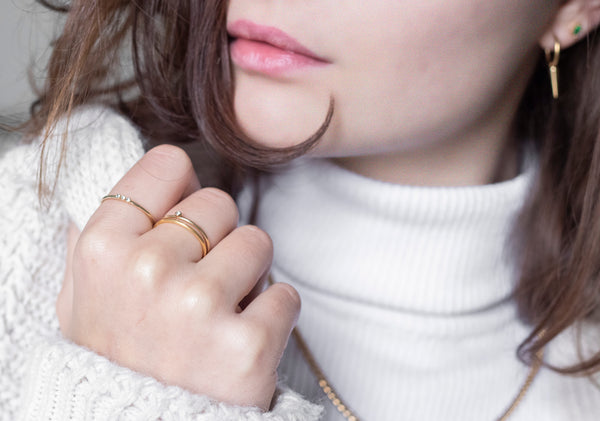Simple one stone ring goud