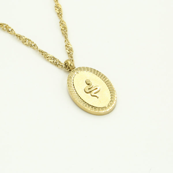Oval snake ketting goud