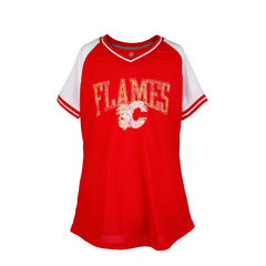 Flames Ladies Retro Stripe V Neck T-Shirt
