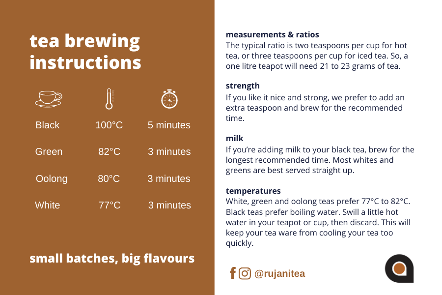 Rujani Tea Brewing Instructions