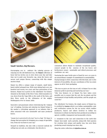 Rujani Tea Feature in Slow. Journal Magazine