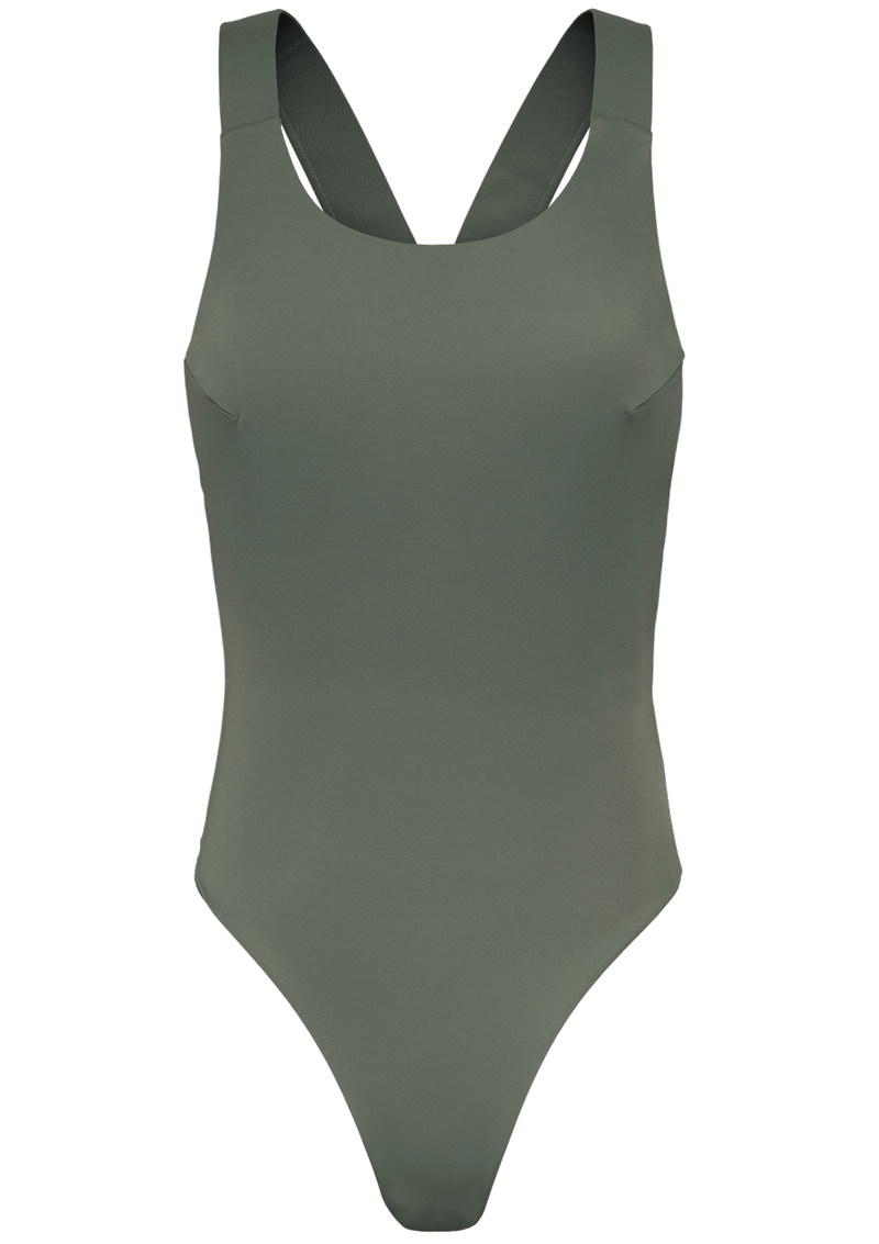 Augustine Amsterdam Swimwear army-green / XS/S White Cross Back Bathing Suit