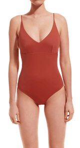 Augustine Amsterdam Swimwear terracotta / XS Pine V-neck bathing suit