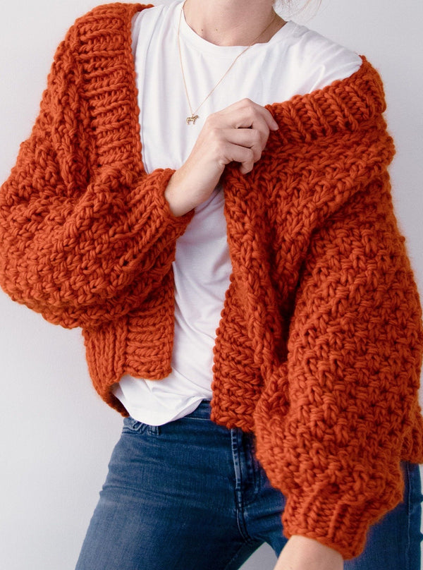 Club Knit Knitwear Marshmallow / XS\S Warm Orange Renne Cardigan