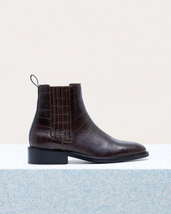 ESSĒN Boots Chocolate Brown / Croc-effect leather / 35 The New Classic - Chocolate