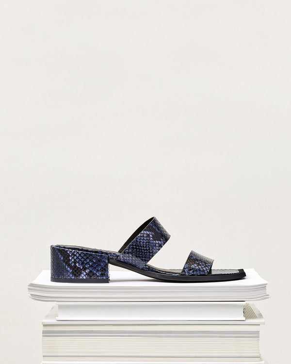ESSĒN Shoes Navy Blue / Snake-effect Leather / 35 Navy Summer Slide