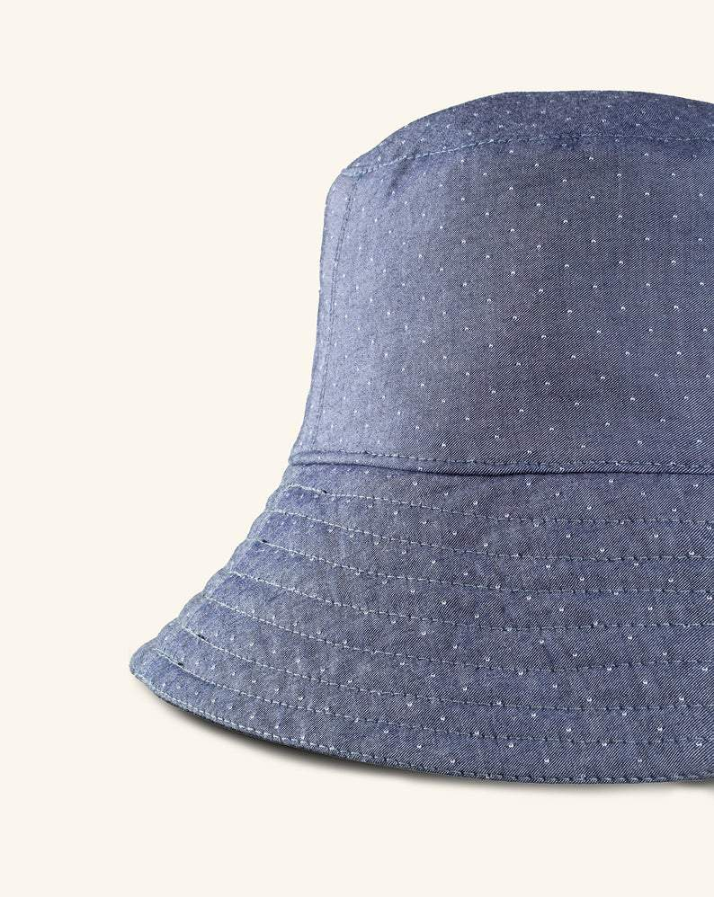 HAIA Hat Blue and Black / One Size Blue Denim Reversible Bucket Hat