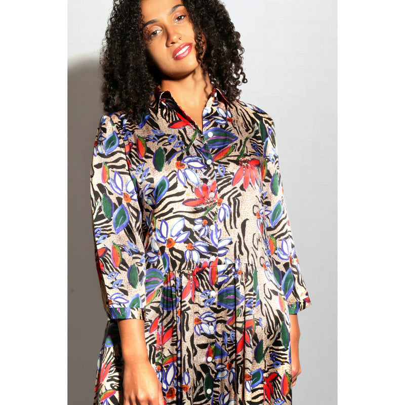 Jessica Russell Flint Dress Painted Zebra Shirt Dress