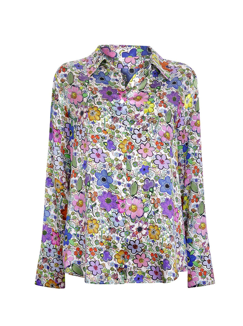 Jessica Russell Flint Shirts Paint by Flora Long Sleeve PJ Top