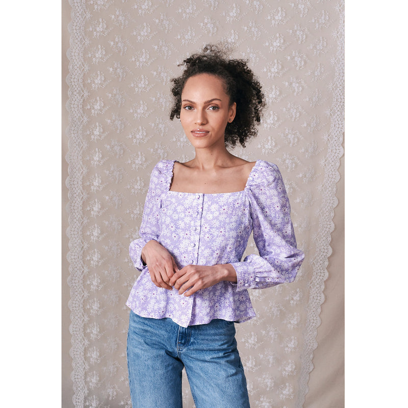 "Jessica Russell Flint Square Neck Blouse / ""Wilde Lilac"""