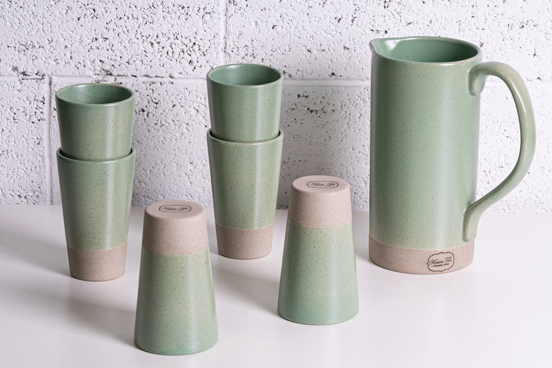 Keren Tibi Pottery ELEGANT COLLECTION Jar + 6 cone cups
