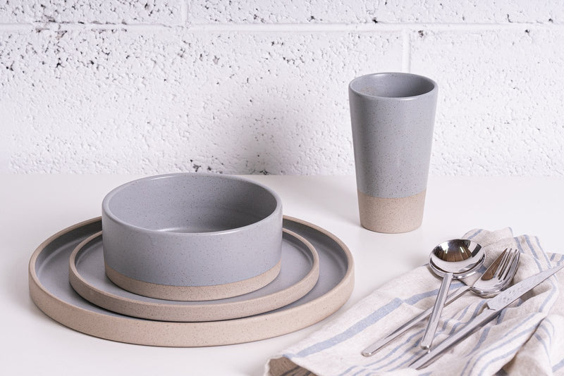 Keren Tibi Pottery Gray Elegant collection plate set
