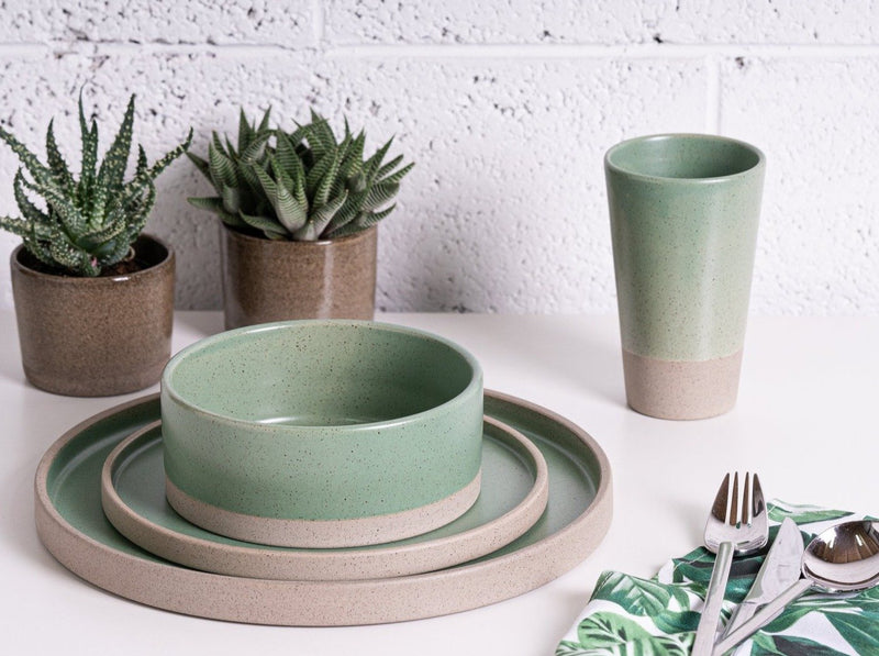 Keren Tibi Pottery Green Elegant collection plate set