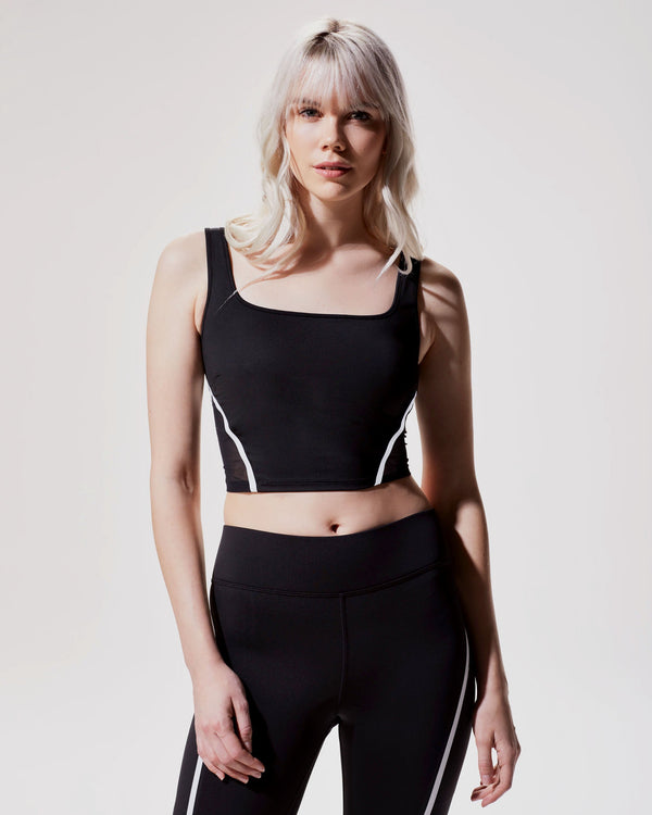 MICHI Tops Black/White / X-Small Cadence Crop Top