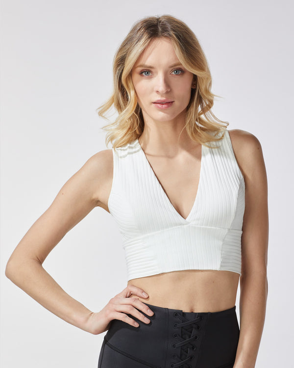 MICHI Tops Flare Ribbed Bustier