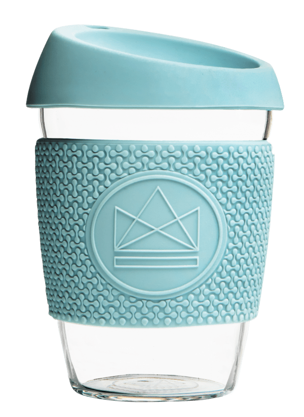 Neon Kactus Zero Waste Baby Blue Yellow Glass Coffee Cup 340ML