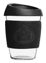Neon Kactus Zero Waste Black Yellow Glass Coffee Cup 340ML