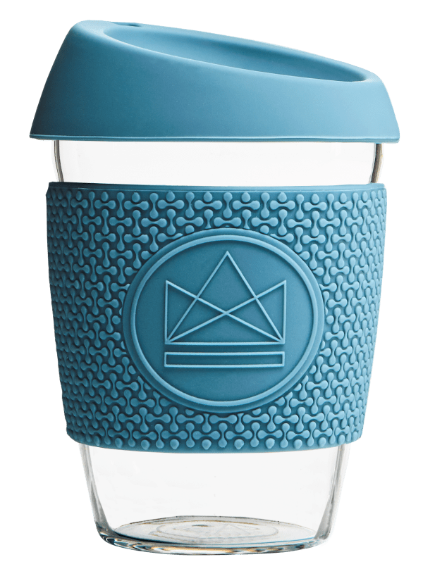 Neon Kactus Zero Waste Blue Yellow Glass Coffee Cup 340ML