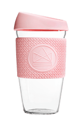 Neon Kactus Zero Waste Pink Mint Glass Coffee Cup 460ML