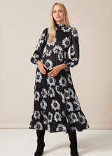 PHOEBE GRACE Dresses BETTY Midi Dress with puff sleeve and high neck in Blue and Black Poppy
